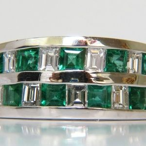 3.80CT NATURAL DIAMOND EMERALD RING F/VS PLATINUM